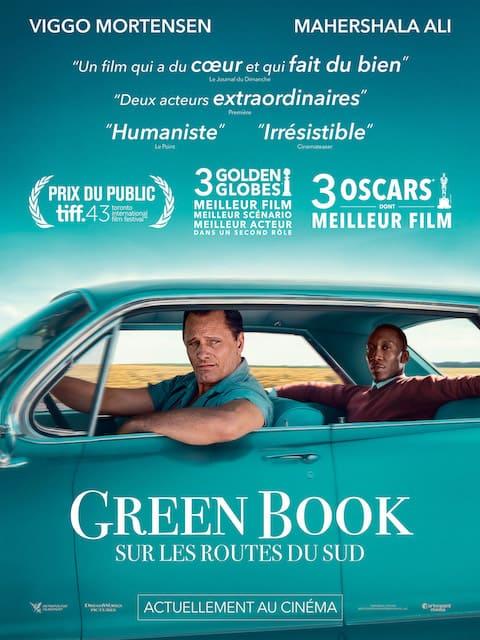 Affiche du film Green Book. Récit biographique de 2 hommes qui se rencontrent.